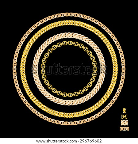 Gold Chain Jewelry. Vector Illustration. EPS10 - stock vector