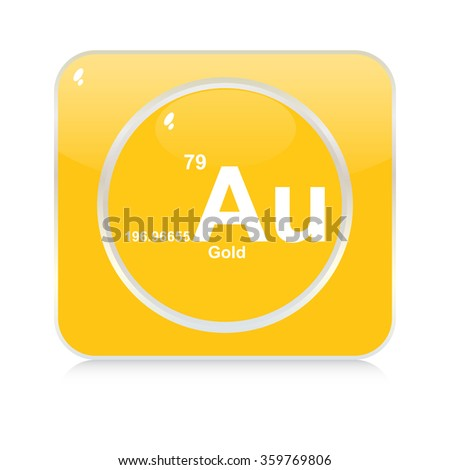 gold chemical element button - stock vector