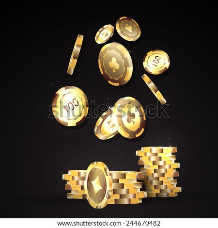 Gold chips, the concept of a casino. - stock vector
