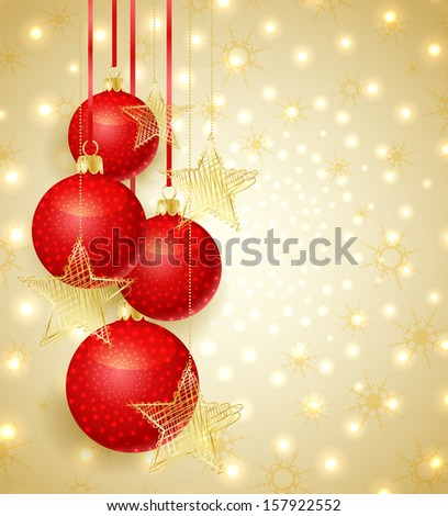 Gold Christmas background with Christmas balls and snow - stock vector