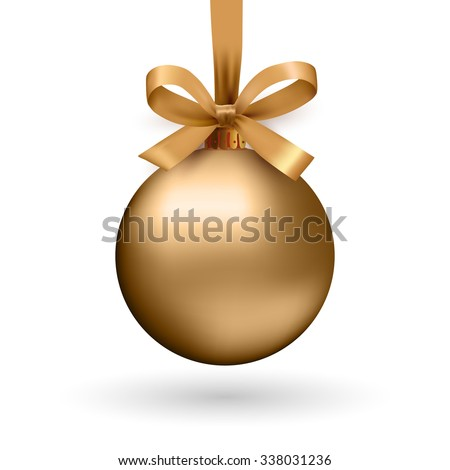 Gold Christmas ball with ribbon and a bow, isolated on white background. Vector illustration. - stock vector