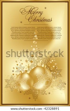 gold christmas balls - stock vector