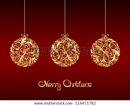 Gold Christmas balls on red background.  Vector illustration - stock vector