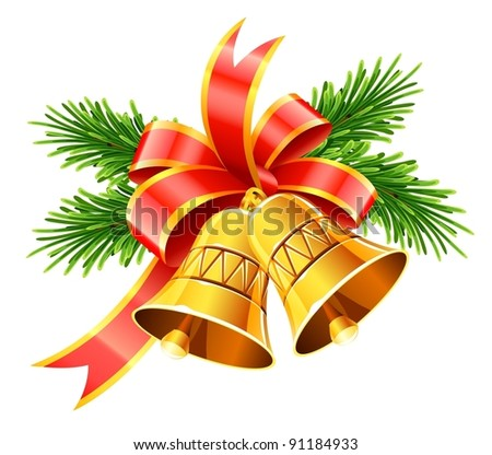 gold christmas bells with red bow and fir vector illustration isolated on white background - stock vector