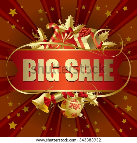 Gold Christmas Big Sale banner with decorations. Christmas discount banner. Vector illustration - stock vector