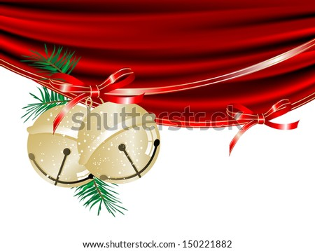 Gold Christmas jingle bells and the curtain - stock vector