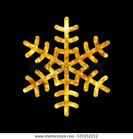 Gold Christmas snowflake icon. Golden fire silhouette snow flake sign isolated black background. Elegant design card, decoration. Symbol winter, New Year holiday celebration Vector illustration