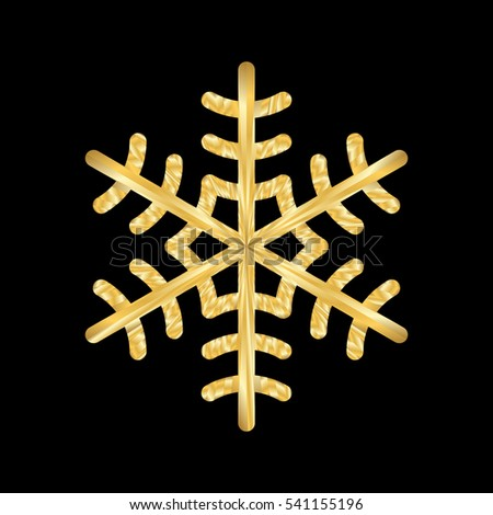 Gold Christmas snowflake icon. Golden silhouette snow flake sign isolated on black background. Elegant design for card, decoration. Symbol winter, New Year holiday celebration Vector illustration