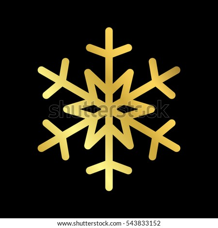 Gold Christmas snowflake icon. Golden silhouette snow flake sign isolated on black background. Elegant design for card, greeting, decoration. Shine texture. Symbol of winter Vector illustration