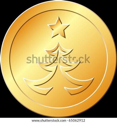 Gold Christmas Tree Token - stock vector