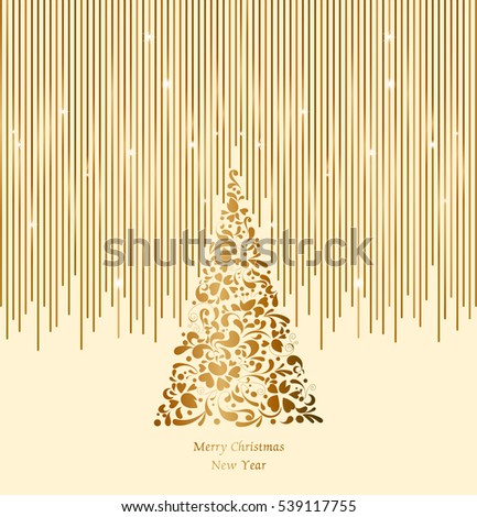 Gold Christmas Tree With Jewels On A Black Background Greeting Invitation Cute Card Simple