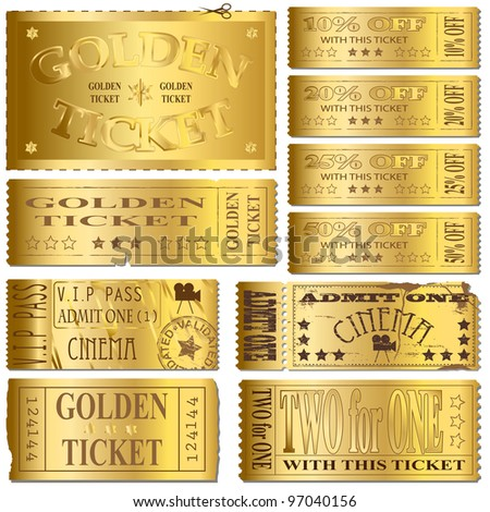 Gold cinema and sale ticket vectors - stock vector