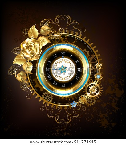 Gold Clock Decorated Gold Gold Jewelry Stock Vector ...