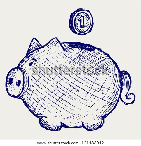 Gold coin fall into a piggy bank. Doodle style - stock vector