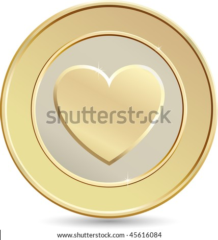 Gold coin. Heart shape. - stock vector