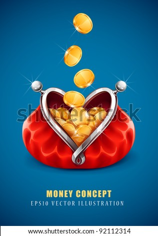 gold coin money dropping in open purse vector illustration EPS10. Transparent objects used for shadows and lights drawing - stock vector
