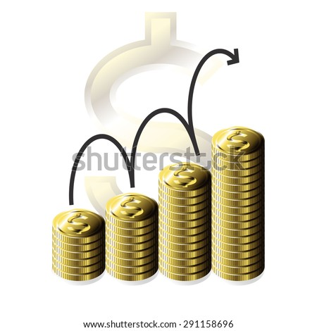 Gold Coin Stack, Business Progress Graph, Vector, Isolate - stock vector