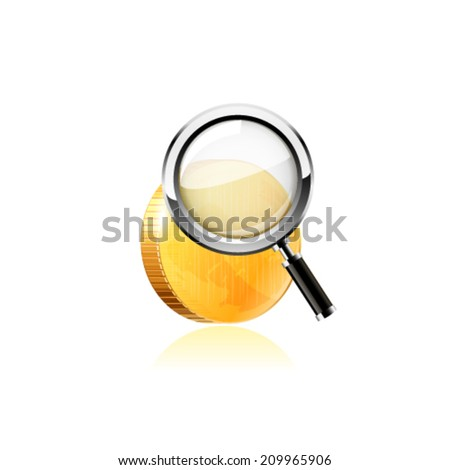 Gold coin under magnifying glass.