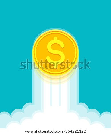 Gold coin with dollar sign at high speed is rising up. Currency strengthening and increasing of dollar exchange rate - stock vector
