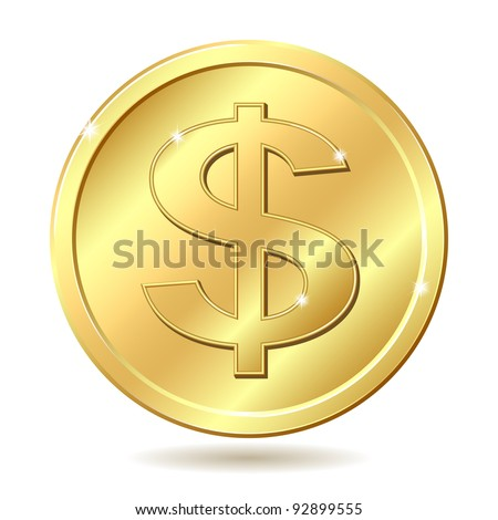Gold coin with dollar sign. Vector illustration isolated on white background - stock vector