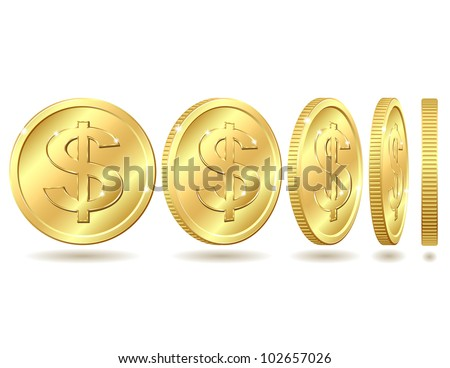 Gold coin with dollar sign with different angles.. Vector illustration isolated on white background - stock vector