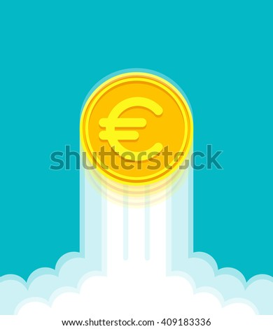 Gold coin with euro sign at high speed is rising up. Currency strengthening and increasing of euro exchange rate - stock vector