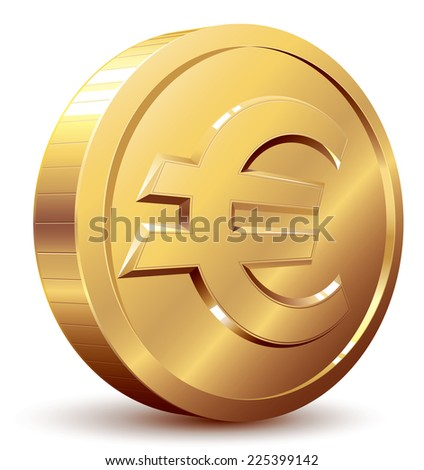 Gold coin with euro sign. Eps8. CMYK. Organized by layers. Global colors. Gradients used. - stock vector