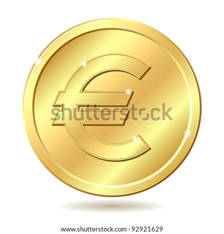 Gold coin with euro sign. Vector illustration isolated on white background
