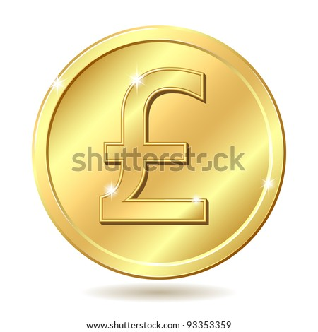 Gold coin with pound sterling sign. Vector illustration isolated on white background - stock vector