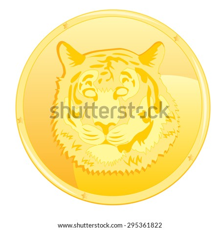 Gold coin with scene of the head of the tiger - stock vector