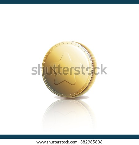 Gold coin with star isolated on a white background. Achievement icon. Vector illustration 10 EPS