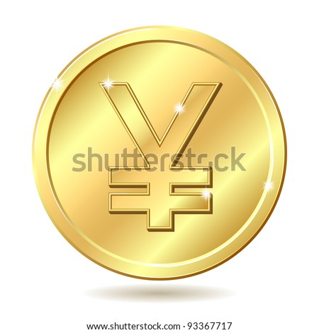 Gold coin with yen sign. Vector illustration isolated on white background