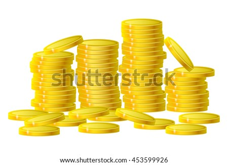 Gold coins cash money in column isolated on white. Vector Illustration, eps 10 - stock vector