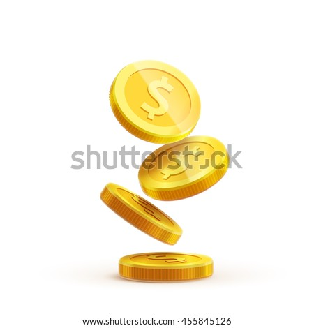 gold coins falling 3d realistic vector coin icon with shadows isolated on white eps 10  - stock vector