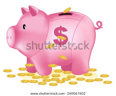 Gold coins falling from top into a cute pink piggy bank. illustration isolated on white background - stock vector