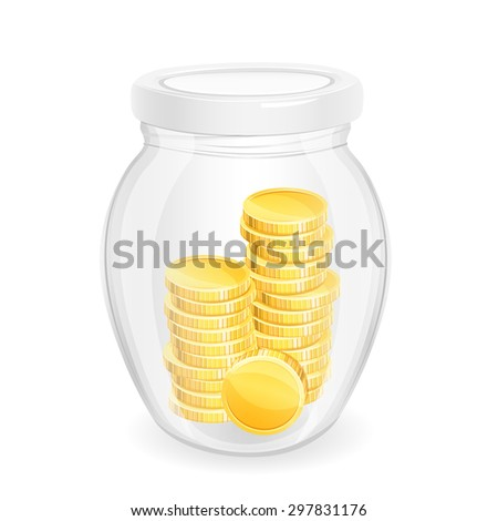 Gold coins in a glass jar. Eps 10. - stock vector