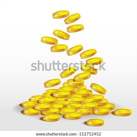 Gold coins spilling. The concept of profit - stock vector