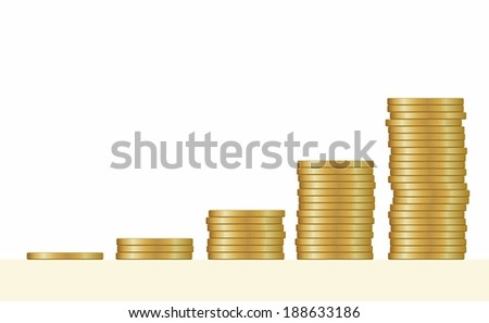 Gold coins. Stack - stock vector