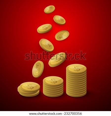 Gold coins vector illustration. - stock vector