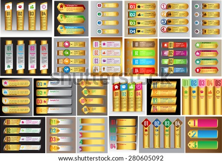 Gold colorful modern text box template for website computer graphic technology business and internet, numbers. Set of color frames for text or quotes. brochure. many, various. infographics. banner - stock vector