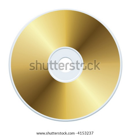 Gold compact disc vector Colors are easy to change. - stock vector