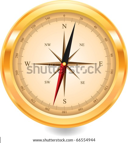 gold compass - stock vector