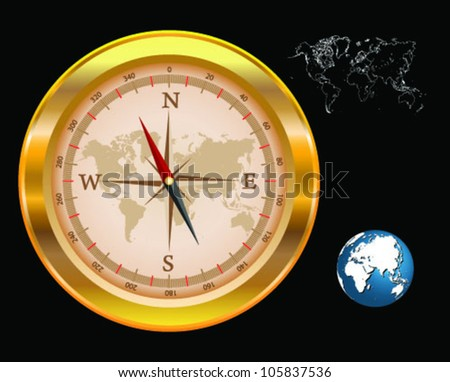 Gold compass isolated with world map and globe -vector - stock vector