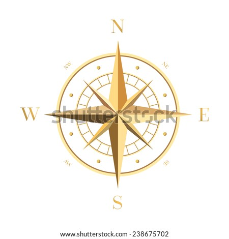 Gold Compass Rose - stock vector