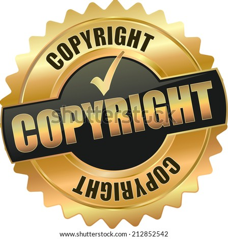 gold copyright sign - stock vector