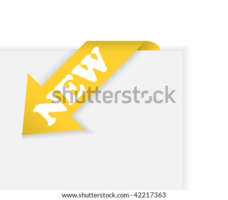 Gold corner arrow ribbon with text new - stock vector