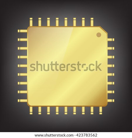 Gold CPU (central processing unit) - Computer chip or microchip,Vector  illustration - stock vector