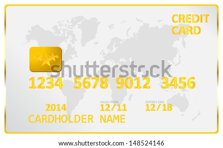 Gold Credit Card - stock vector