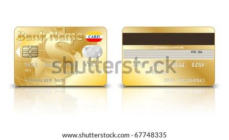 Gold credit card with Dollar sign on the front side. Vector - stock vector