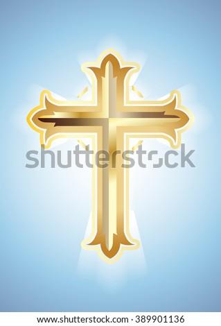 Gold Cross on blue background. Christian Symbol. Vector illustration - stock vector